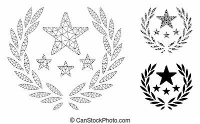 rete, vettore, trionfo, triangolo, mosaico, emblema, maglia, icona, modello