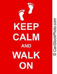 retener, calma, caminata