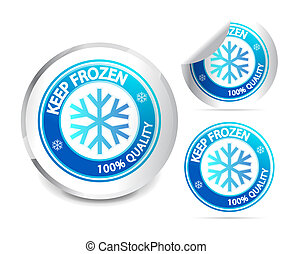 retener, congelado, etiqueta