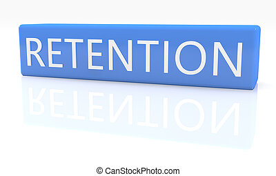 Retention - 3d render blue box with text on it on white background with reflection
