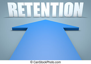Retention - 3d render concept of blue arrow pointing to text.