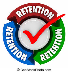 Retention word on arrows around a check mark to illustrate keeping or holding onto customers or employees in a campaign