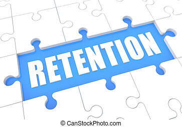 Retention - puzzle 3d render illustration with word on blue background