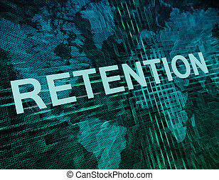 Retention text concept on green digital world map background
