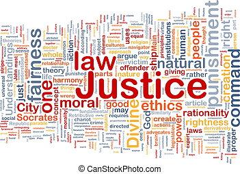 retfærdighed, baggrund, begreb, wordcloud