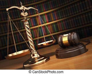 retfærdighed, concept., gavel, gylden, skalaer, og, bøger, ind, den, bibliotek