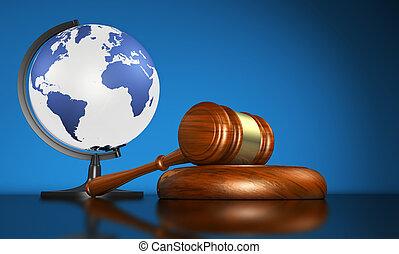 retfærdighed, internationale, global branche, lov