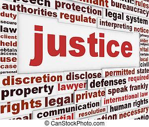 retfærdighed, plakat, begreb