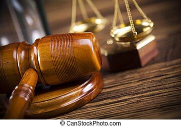 retfærdighed skala, og, gavel
