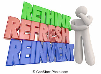 rethink, ilustracja, myśliciel, odświeżyć, słówko, reinvent...