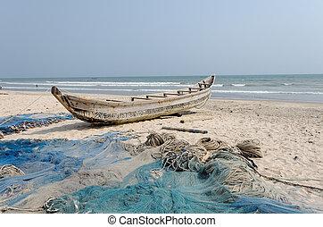 reti, africano, barche pescano