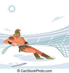 Retiarius with a net caught the Gladiator in the arena. Vector isolated illustration. Flat cartoon style