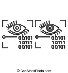 Retina recognition line and glyph icon. Eye identification and binary code vector illustration isolated on white. Biometric access outline style design, designed for web and app. Eps 10.