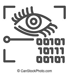 Retina recognition line icon. Eye identification and binary code vector illustration isolated on white. Biometric access outline style design, designed for web and app. Eps 10.