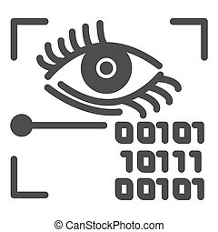 Retina recognition solid icon. Eye identification and binary code vector illustration isolated on white. Biometric access glyph style design, designed for web and app. Eps 10.
