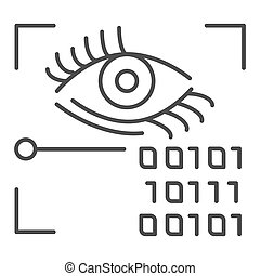 Retina recognition thin line icon. Eye identification and binary code vector illustration isolated on white. Biometric access outline style design, designed for web and app. Eps 10.
