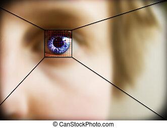 Retina Scan - Digital retina scan of a blue eyed woman