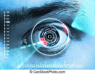 Retina Scan - laser scanning eye. blue tone