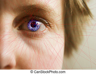 Red lines scanning the face and retina of a woman with the word 'Scanning...' in a text box