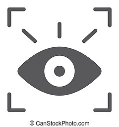Retina scanner glyph icon, recognition and authentication, eye scan sign, vector graphics, a solid pattern on a white background.