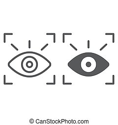 Retina scanner line and glyph icon, recognition and authentication, eye scan sign, vector graphics, a linear pattern on a white background.