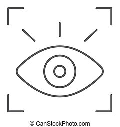 Retina scanner thin line icon, recognition and authentication, eye scan sign, vector graphics, a linear pattern on a white background.