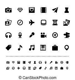 retina, viaje, y, entretenimiento, icono, conjunto
