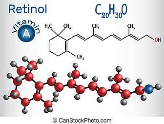 retinol, fórmula, alimento, dietético, vitamina, estructural, utilizado, químico, un, molécula, supplement., modelo