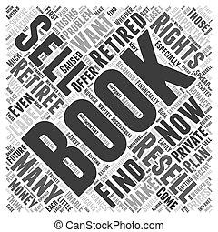 retiré, faire, argent, vente, e, livres, mot, nuage, concept