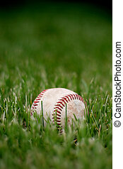 retired baseball - a used baseball lies retired in the grass...