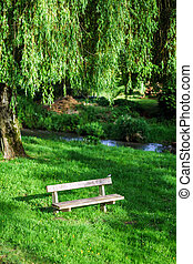 Retired calm place over the willow