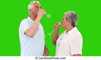 Retired couple celebrating something with champagne against...