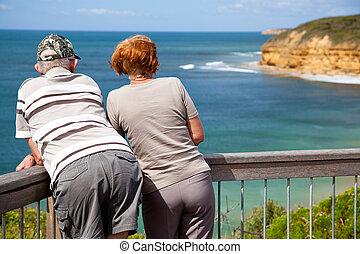 Retired couple enjoying their free time
