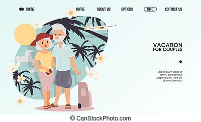 Retired couple on vacation, vector illustration. Website travel company for couples, retirement leisure together grandparents