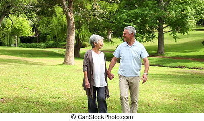 Retired couple walking in the park