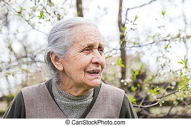 Retired elderly woman