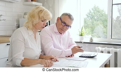 Retired man and woman calculating bills at home.