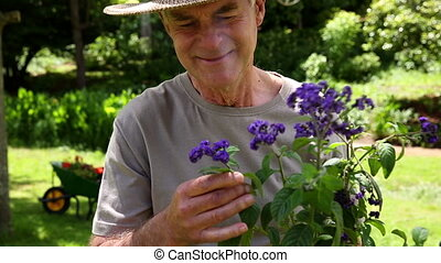 Retired man gardening and smiling