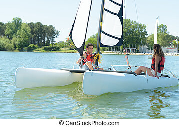 retired marriage sailing on the lake