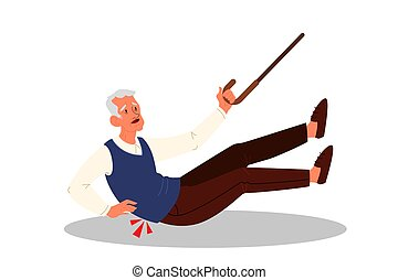 Retired men falling down. Elderly person with cane on the floor.