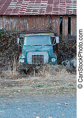 Retired - Old green farm truck overgrown with shrubs