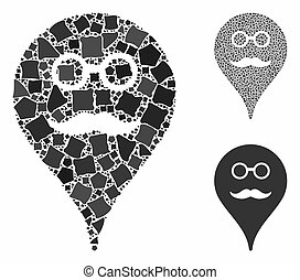 Retired smiley map marker Mosaic Icon of Irregular Elements