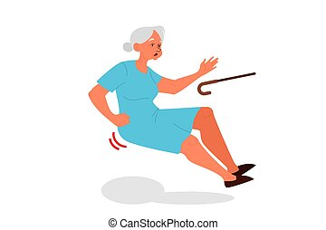 Retired women falling down. Old woman with a cane.