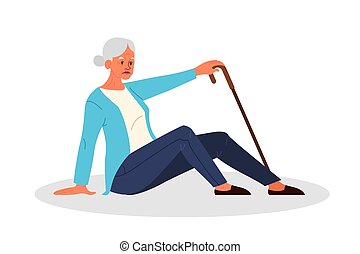 Retired women fell down. Old woman with her arm on her heart.