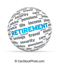 Retirement 3D Sphere sign on white background.