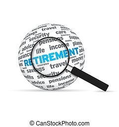 Retirement 3d Word Sphere with magnifying glass on white background.