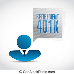 retirement 401k avatar sign concept