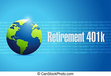 retirement 401k globe sign concept