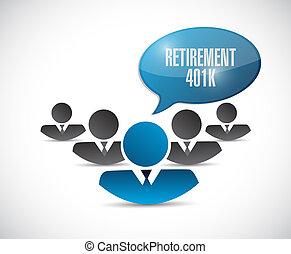 retirement 401k team sign concept