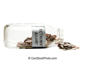 A milk bottle with coins conceptualizing a retirement account.